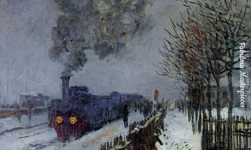 monet train in the snow