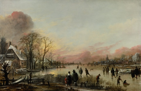 Aert Van der Neer Frozen River at Sunset