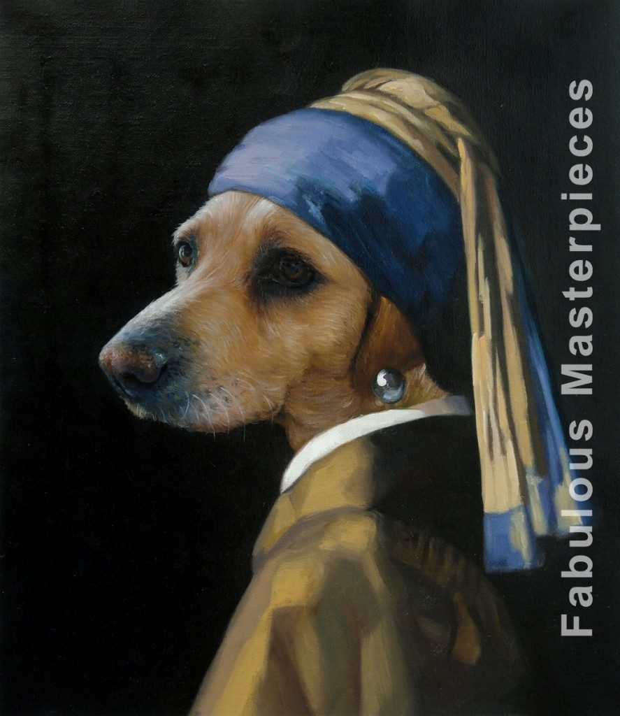 dog as girl with a pearl earring