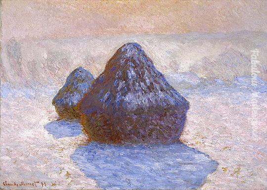 Monet haystacks snow effect