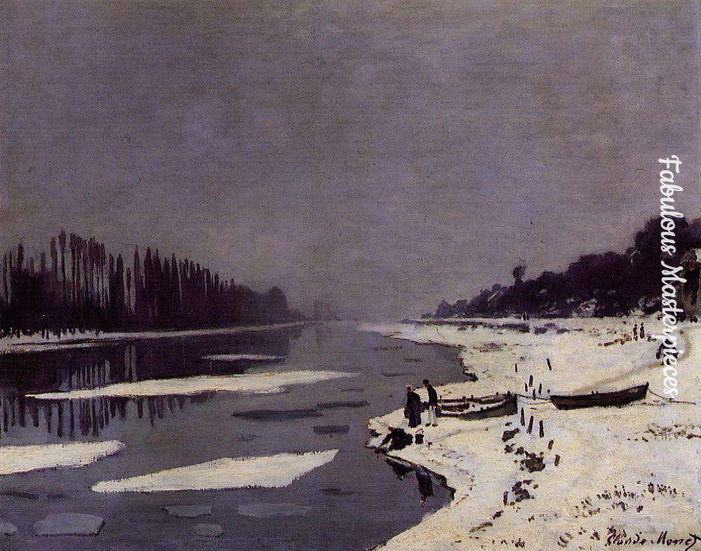 monet ice floes on the seine at Bougival