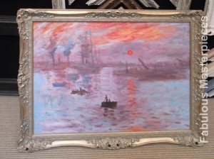 Monet's Sunset, framed and hand-painted by Fabulous Masterpieces