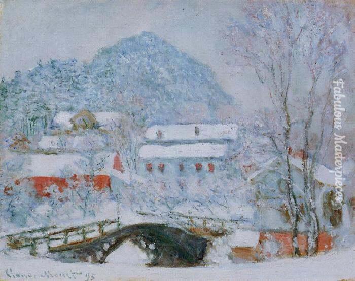 monet the village of sanviken in snow