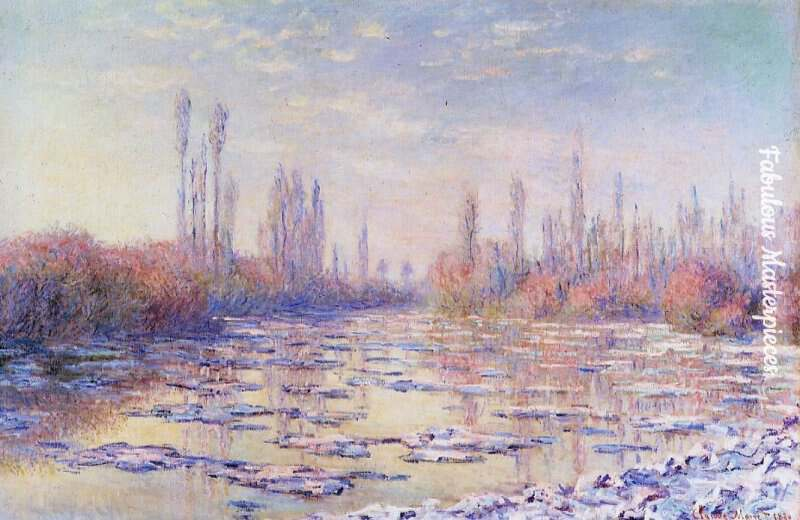 monet winter paintings floating ice