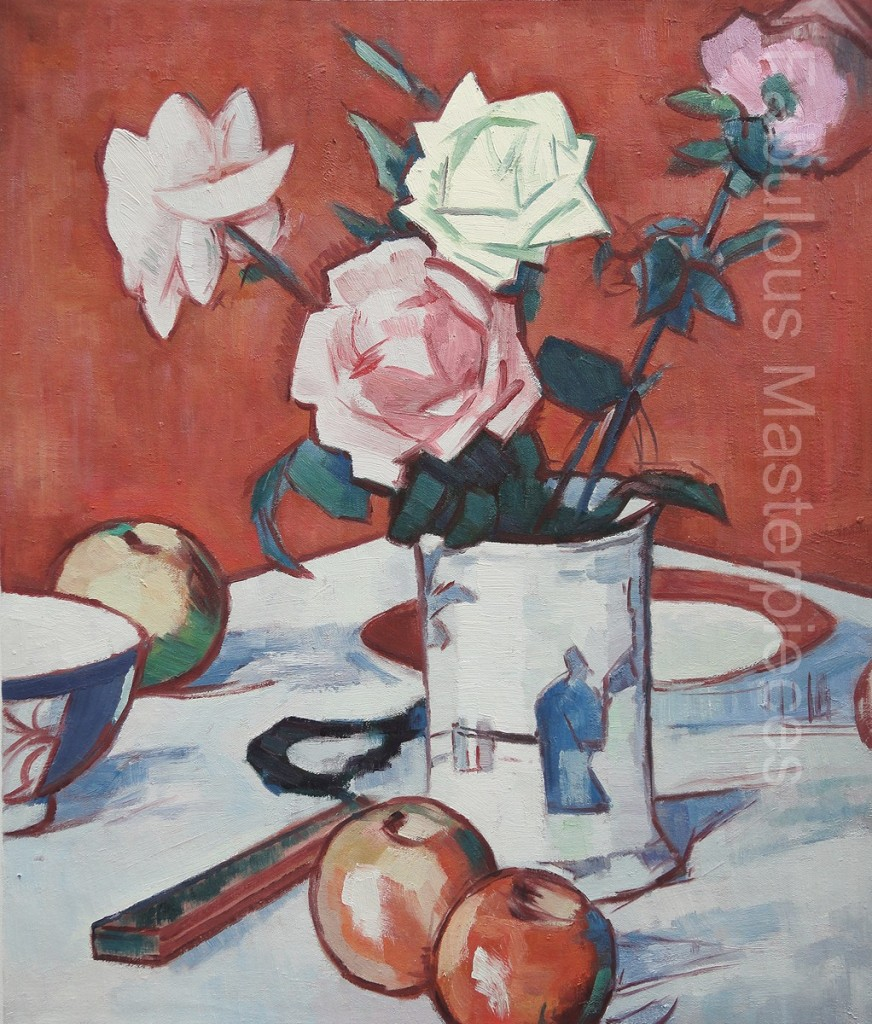 samuel Peploe - Still Life of Mixed Roses in a Chinese Vase